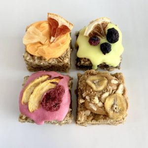 Fruity tutti frutti vegan gluten-free Flapjacks treats