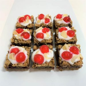 Vegan Cherry Bakewell flapjacks