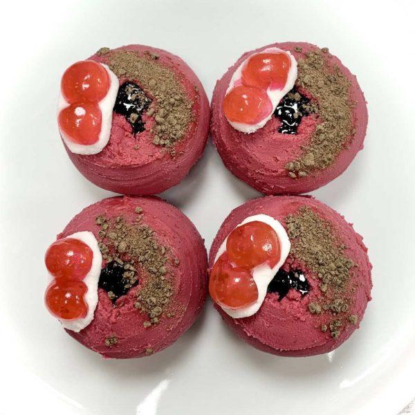 Vegan gluten-free black forest gateau doughnut baked treats