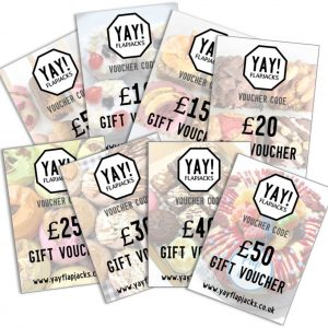 YAY! Flapjacks range of gift vouchers