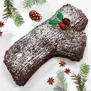 Gluten-free vegan Christmas yule log