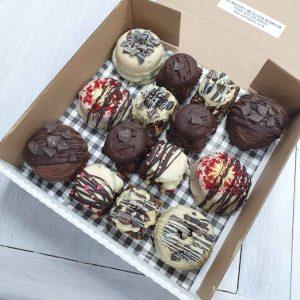 Party box mixed flapjacks doughnuts gluten-free vegan treats