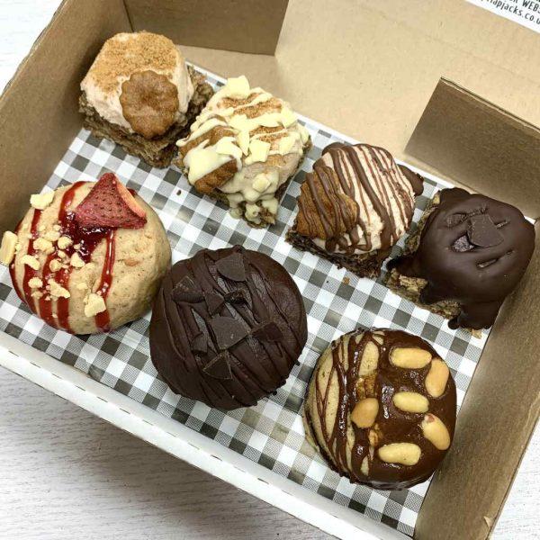 Voyage of Biscoffery The Big Beasts sharing box vegan gluten-free doughnuts flapjacks treats