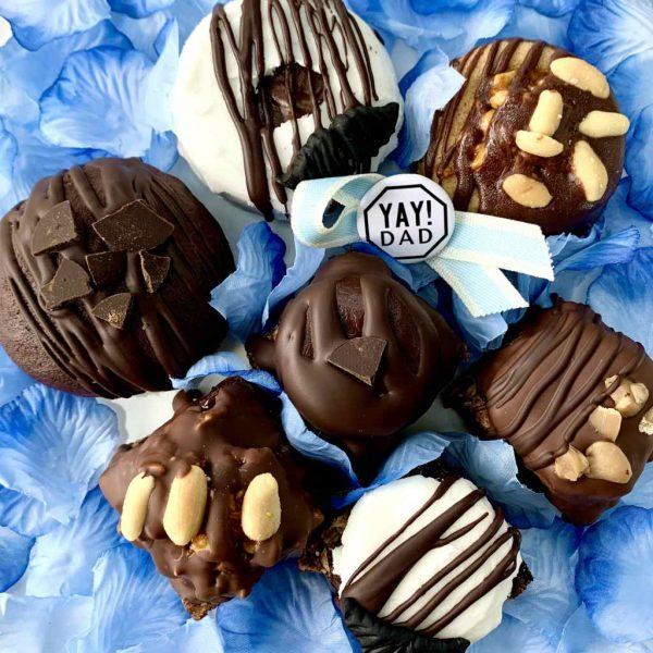Fathers Day sharing box vegan gluten-free doughnuts flapjacks treats